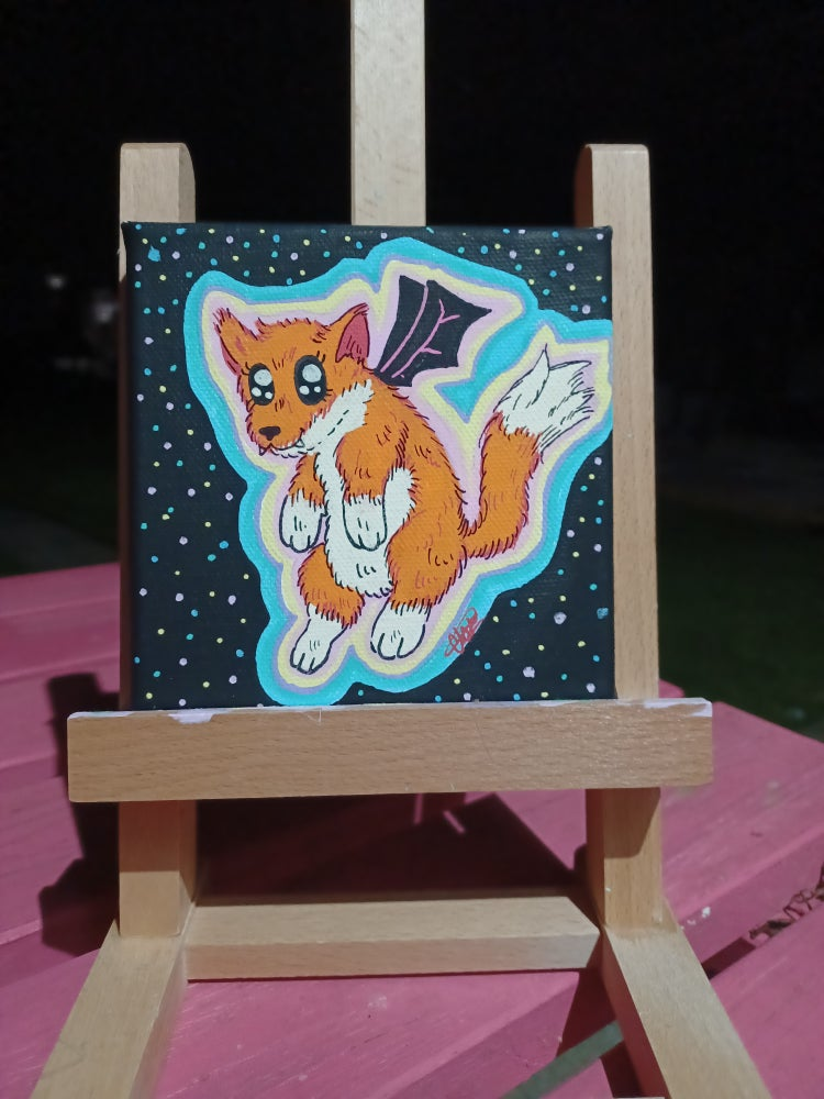 Image of Fox Bat Halloween Painting
