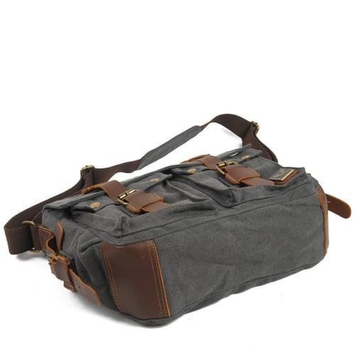 Image of Canvas Leather Messenger Bag, Crossbody Bag for Men, Shoulder Bag, Laptop Bag 2138K