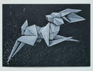 "Image of ""White Rabbit #5"" original watercolour"