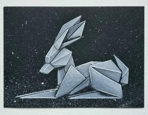 "Image of ""White Rabbit #4"" original watercolour"