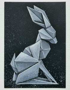 "Image of ""White Rabbit #7"" original watercolour"