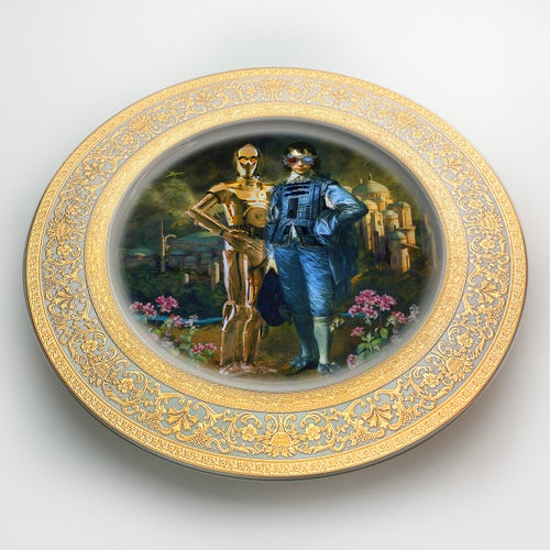 Image of The Odd couple - Large Fine China Plate - #0745