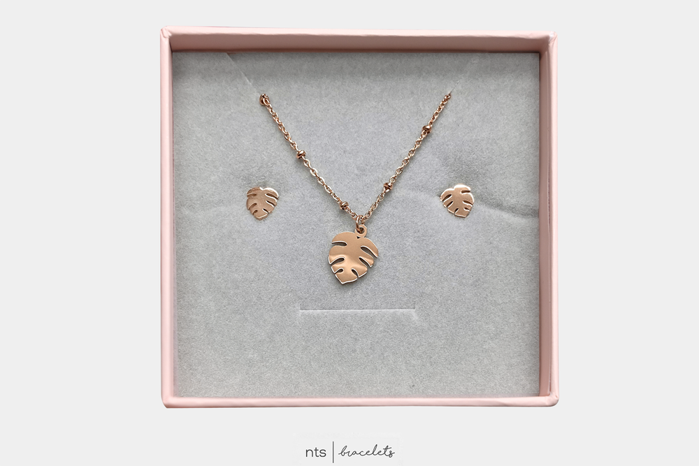 Image of LIMITED EDITION MONSTERA  NECKLACE & EARRING BUNDLE (Rose Gold)