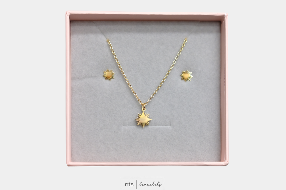 Image of LIMITED GOLD FILIPINA SUN NECKLACE & EARRING BUNDLE (Sun +  Gold)