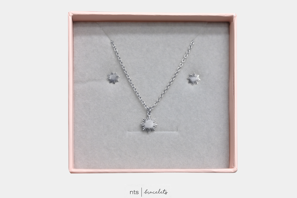 Image of  LIMITED SILVER FILIPINA SUN NECKLACE & EARRING BUNDLE (Sun +  Silver)