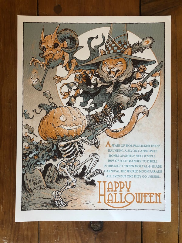 """Image of Halloween Trio Screen Printed 18""""x24"""" Poster"""