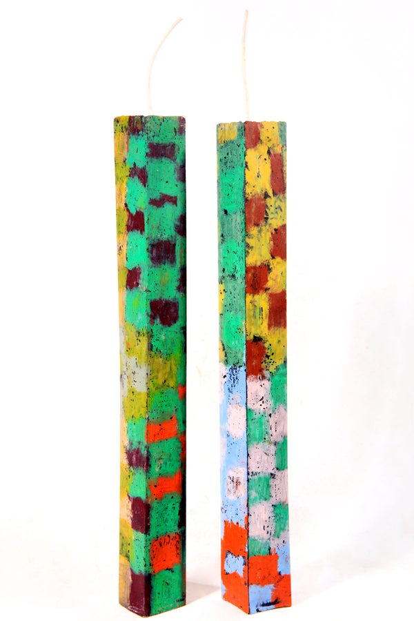 Image of Extra Tall Tower Pair in olive, clay pink, emerald, brown, yellow, baby blue, red and aubergine