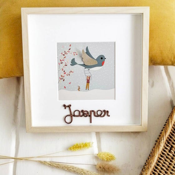 Image of Tableau déco *L'enfant et l'oiseau* version garçon