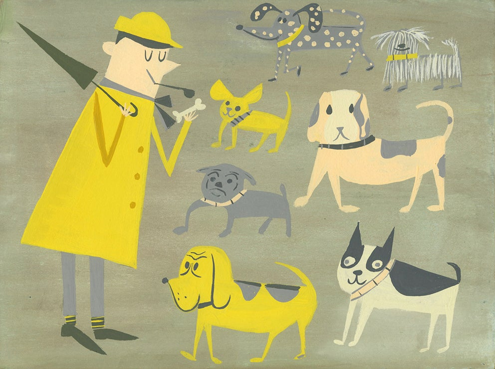 Image of Hulot and his dog friends. Original painting.