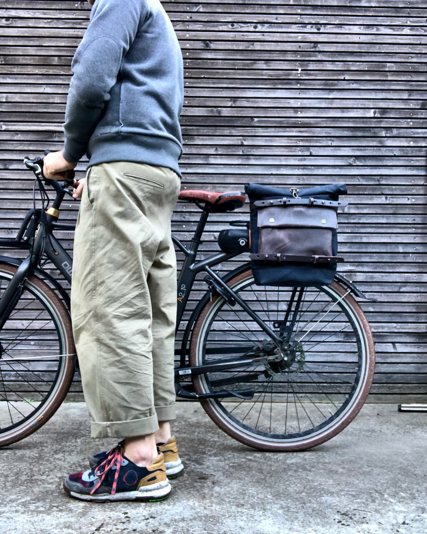 Image of Motorbike bag / Motorcycle bag / Bicycle bag in waxed canvas  with horizontal straps