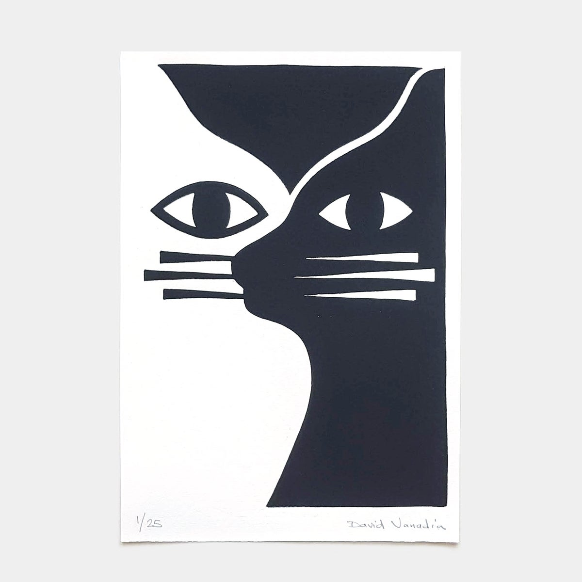 Image of Limited edition linocut print 21 x 30 cm 'Chat(s)'
