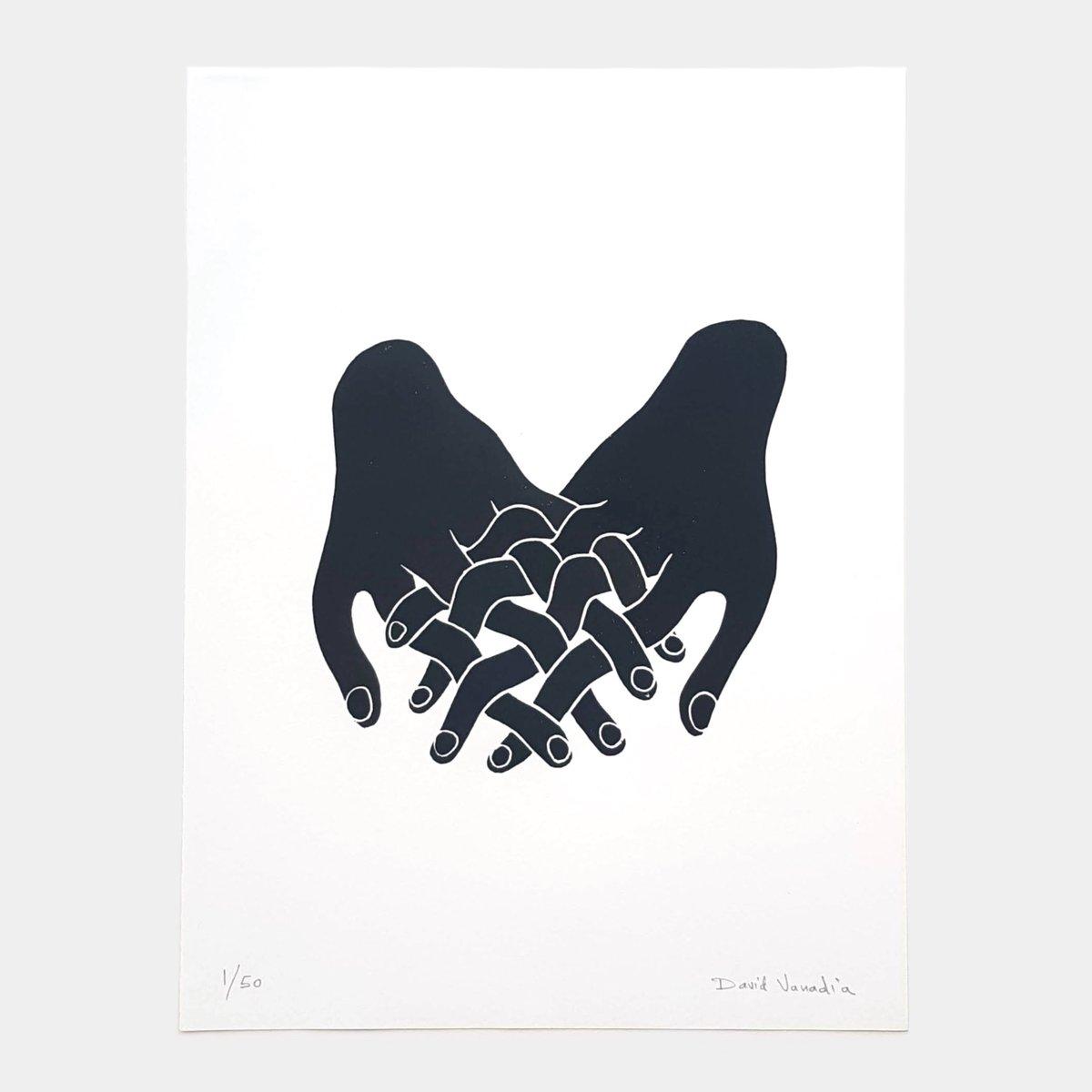Image of Limited edition linocut print 30 x 40 cm 'Liens Tissés'