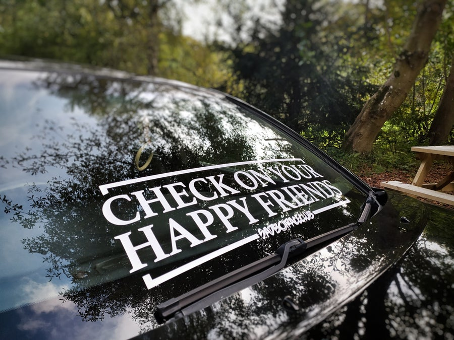 Image of Check on your happy friends cut window banner