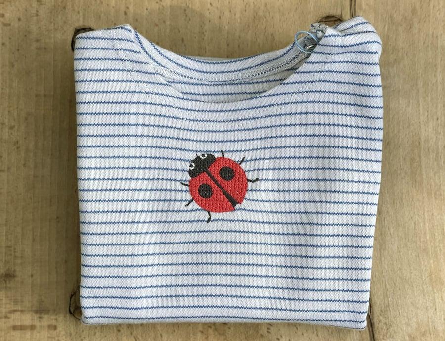Image of Shirt mit Marienkäfer blau gestreift Art.284278