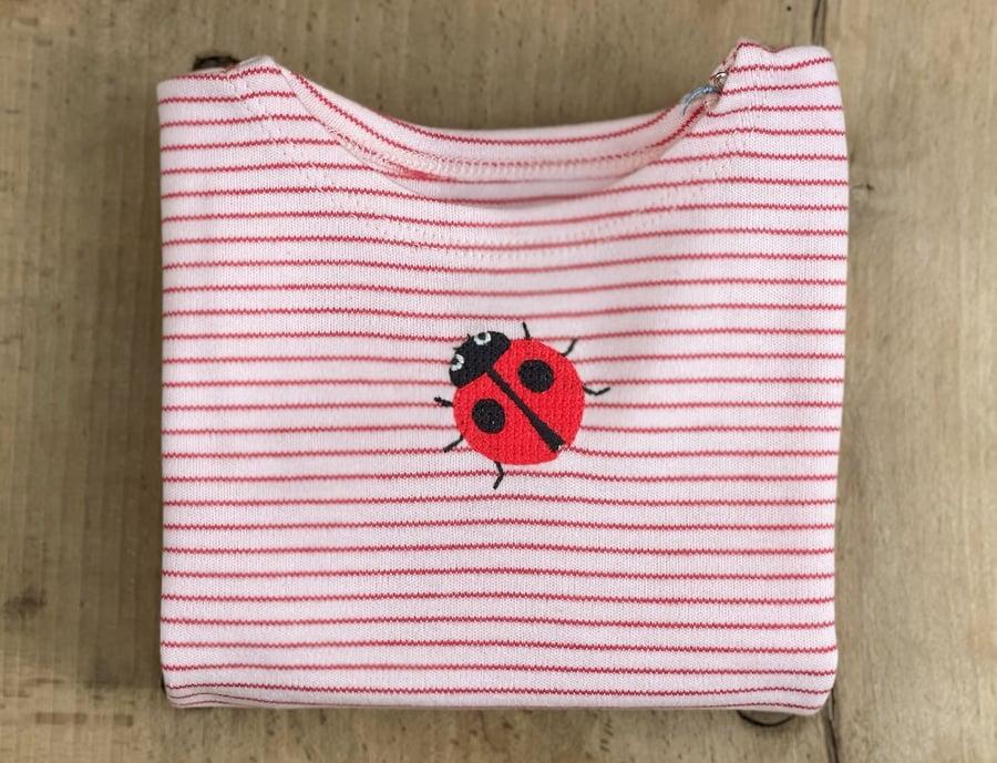 Image of NEU Shirt mit Marienkäfer rot gestreift Art.284275