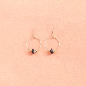 Image of Dalmatian jade hoop earrings