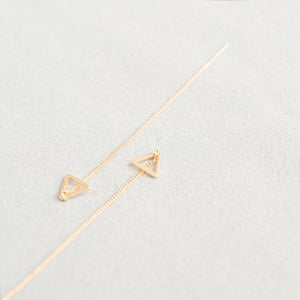 Image of Matte gold triangle threaders