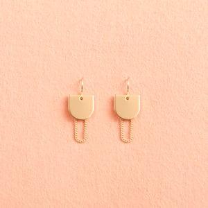 Image of Gold chain geometric earrings