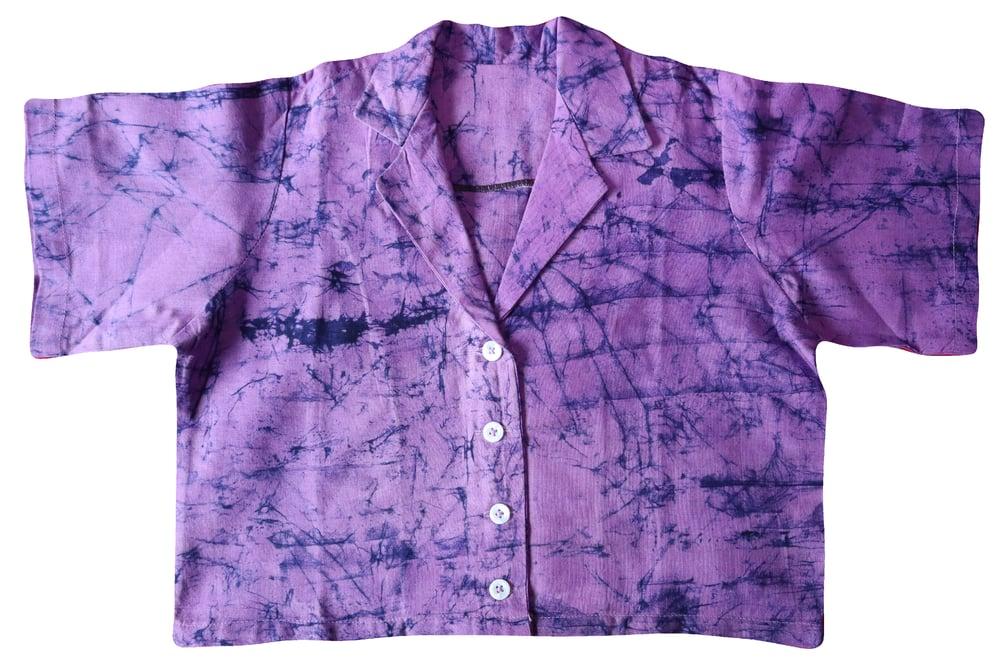 'BIBI' Adire Crop - Purple & Indigo