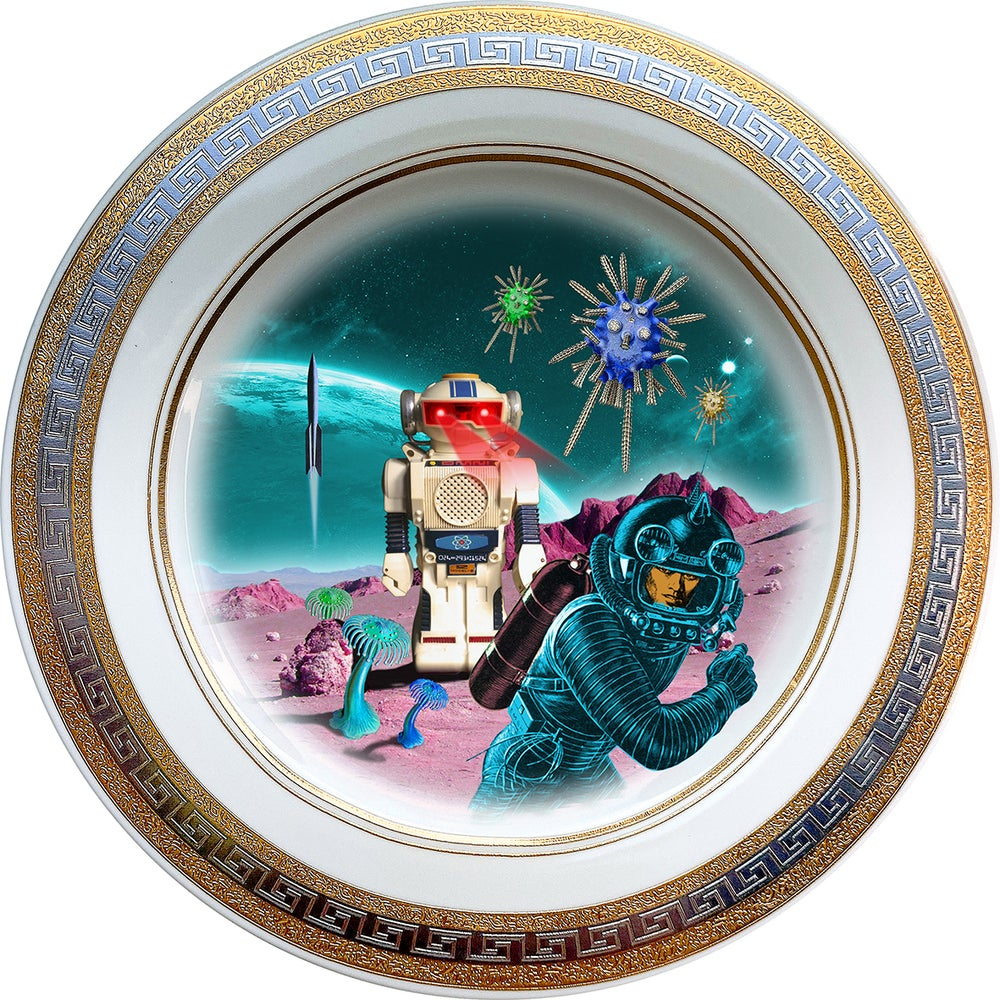 Image of Robot Attacks - Fine China Plate - #0741