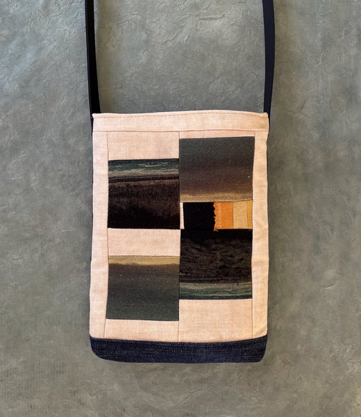 Image of Abstract squares, linen cross-body shoulder bag
