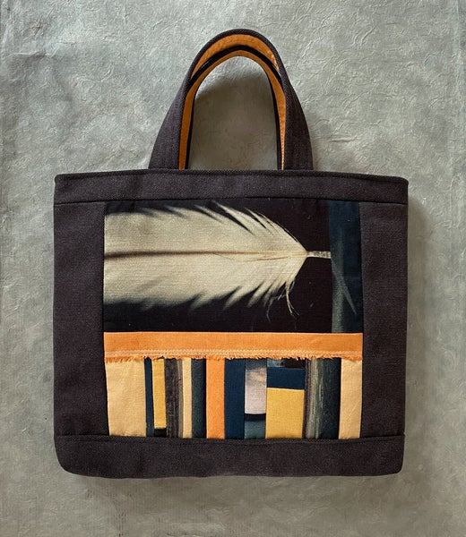 Image of Feather tote, large linen shopper/project bag