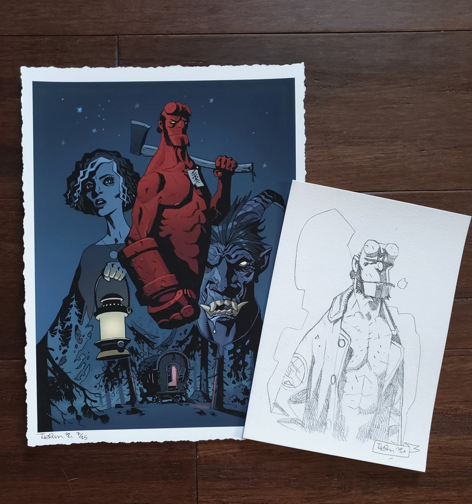 """Image of Hellboy """"Her Fatal Hour"""" Cover Print w/ Original Pencil Sketch by Tiernen Trevallion  (9x12 Edition)"""