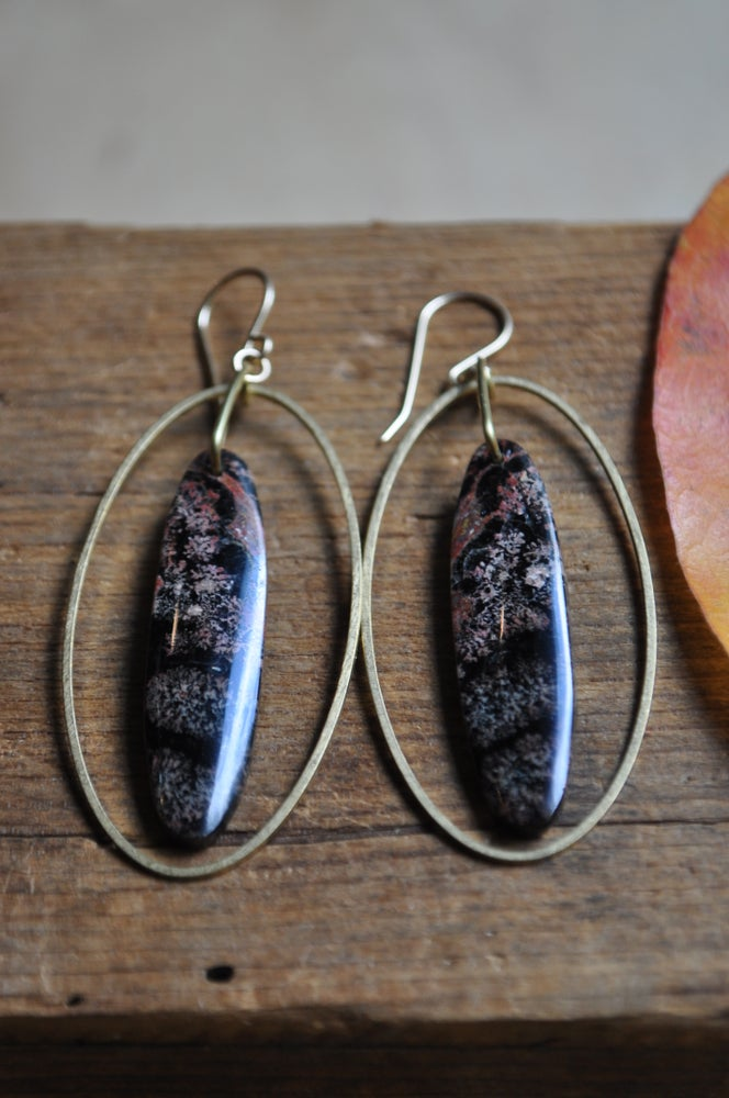 Image of Snowflake Obsidian Oval Hoops