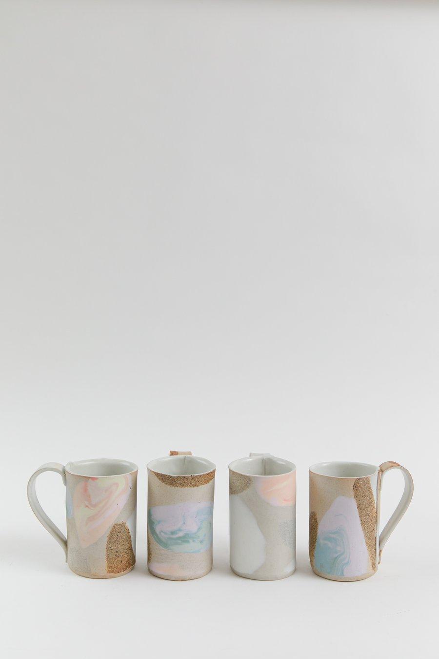 Image of Tangerine Lavender Dream - Tall Porcelain Inlay Handled Mug