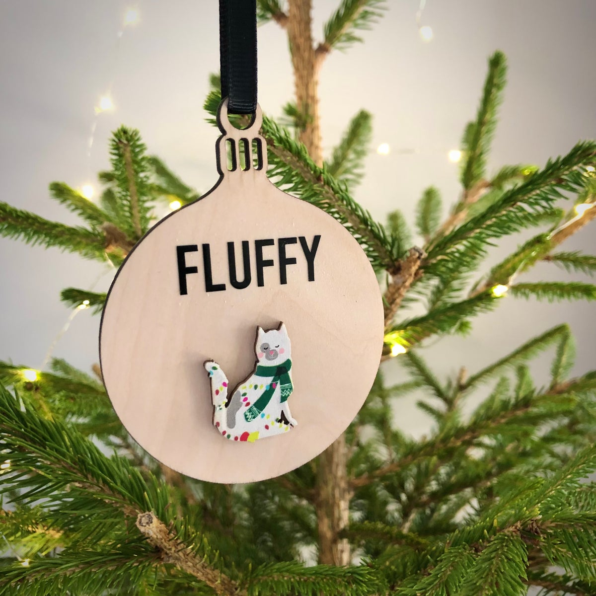 Image of Cat Christmas Personalised Wooden Bauble