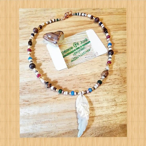 Image of #MOTHER OF PEARL #FEATHER MULTICOLOR #JASPER Necklace