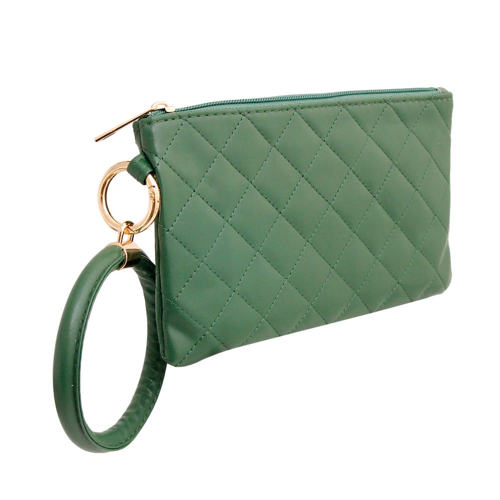 Image of DIVA Quilted Green Bangle Wristlet
