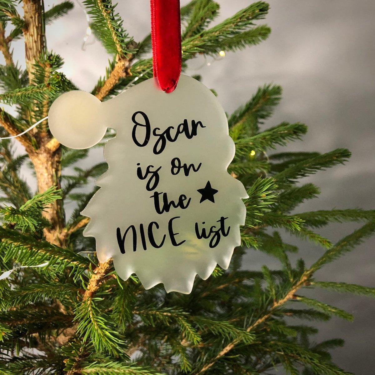 Image of Santa Nice List Acrylic Christmas Decoration