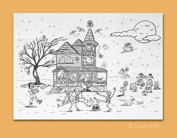 Image of Spooky Haunted House Giant Coloring Sheet