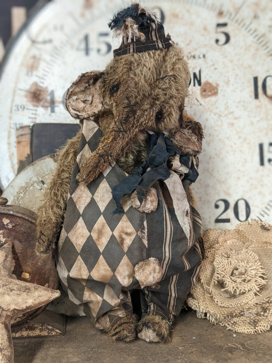 """Image of 11.5"""" -BIGGY  Old Vintage style Distressed MOHAIR Clown Elephant in Romper by Whendi's Bears"""