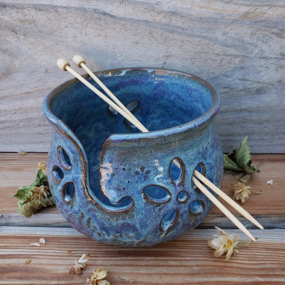 Image of Yarn Bowl for Your Wool, Textured with Daisies: Lupine ( Periwinkle) 10/21