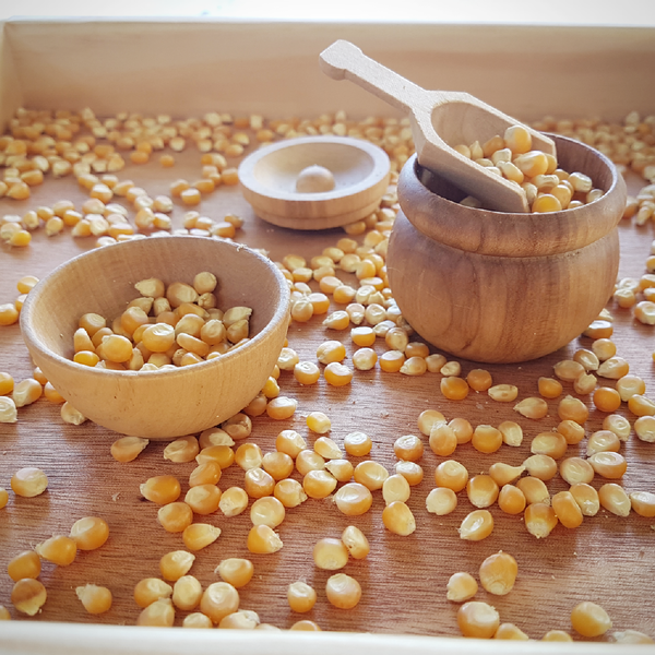 Image of Sensory Play Tools - wooden pot, bowl and scoop