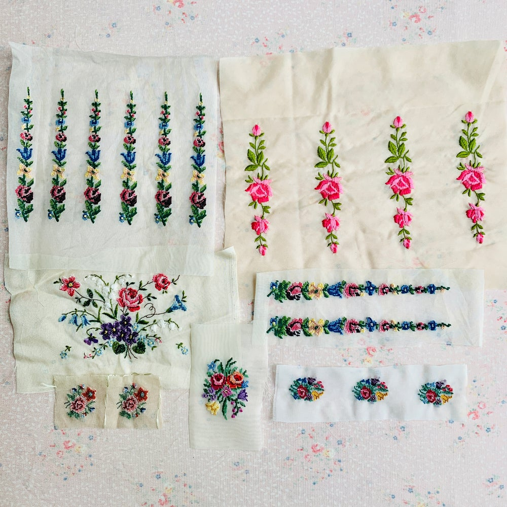 Image of Vintage embroidered trim pack x 1 of 7 various pieces