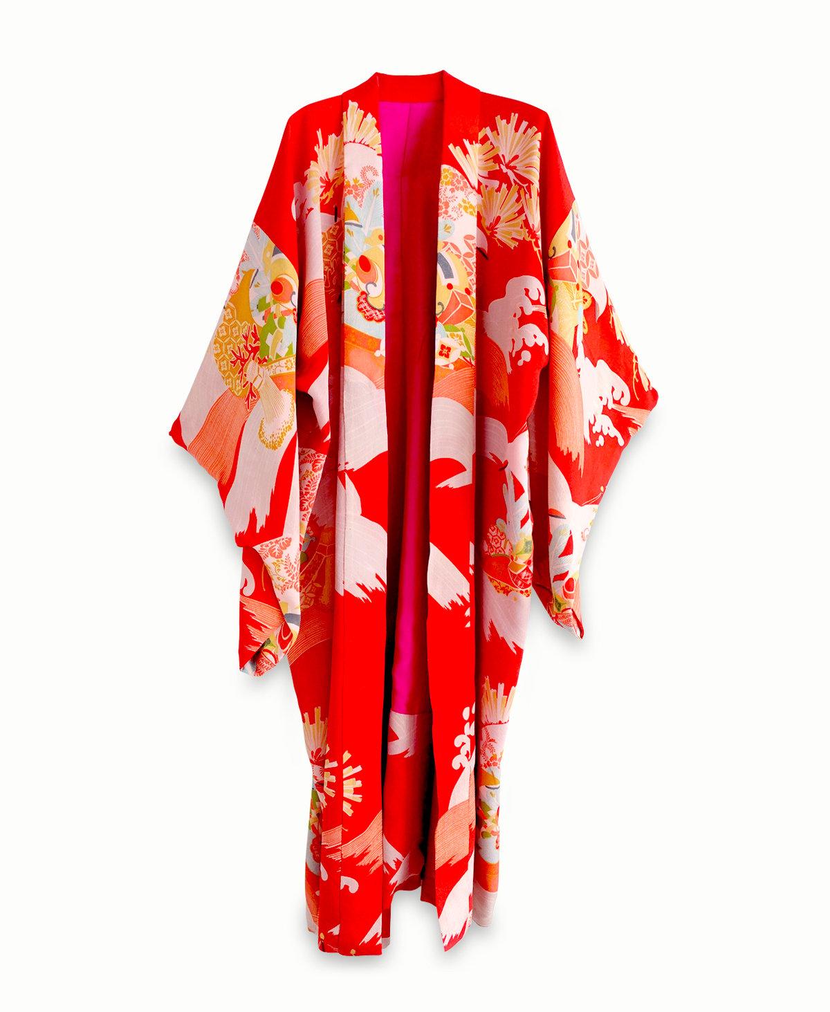 Image of Rød silke kimono med bølger - vendbar
