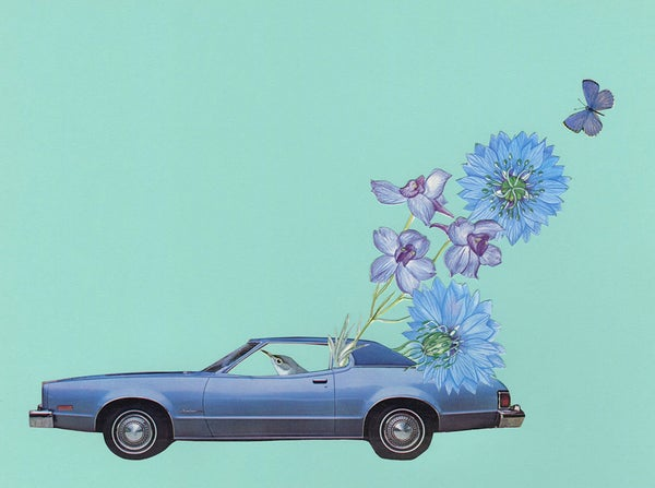 Image of On the blue highway. Original paper collage.