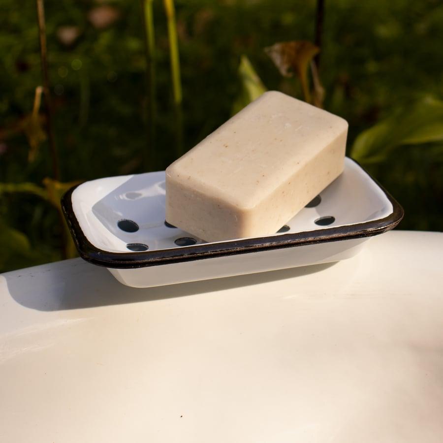Image of Farmhouse Enameled Metal Soap Dish