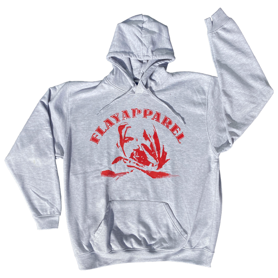 Image of Winter Grey Excoriate Hoodie - Red