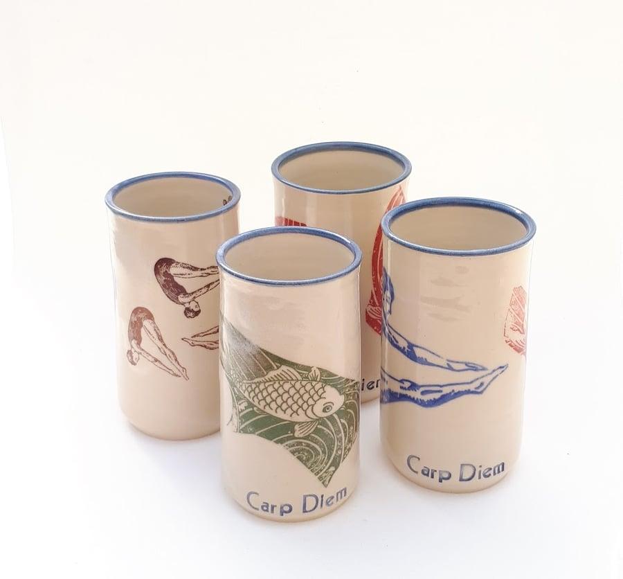 Image of Carp Diem Tumblers Set of Four by Bunny Safari