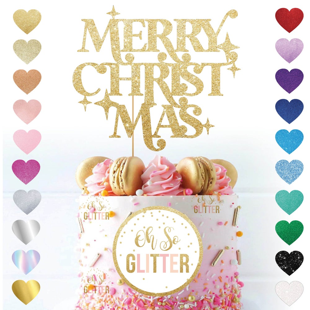 Image of Merry Christmas with Stars Cake Topper