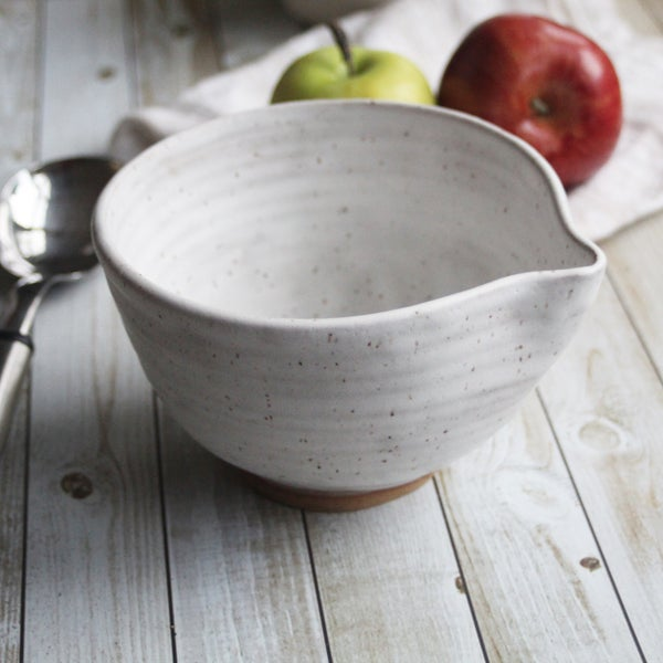 Image of Speckle Serving Bowl in Matte White Glaze, Medium Sized Pottery Batter Bowl, Made in USA