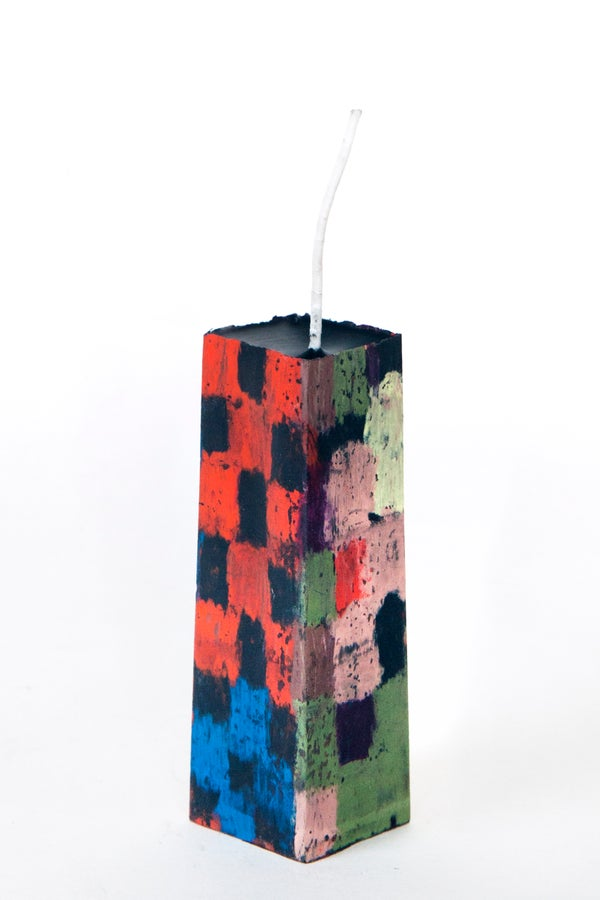 Image of Mid Stack Tower in navy, red, black, aubergine, brown, soft yellow, clay pink
