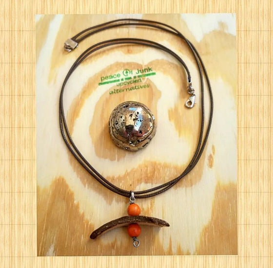 Image of #ORANGE #BAMBOO BROWN CORD NECKLACE