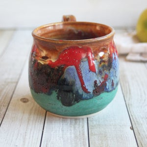 Image of Gorgeous Handmade Coffee Mug in Multi Colored Glazes, Colorful Coffee Cup, 17 oz. Handmade in USA