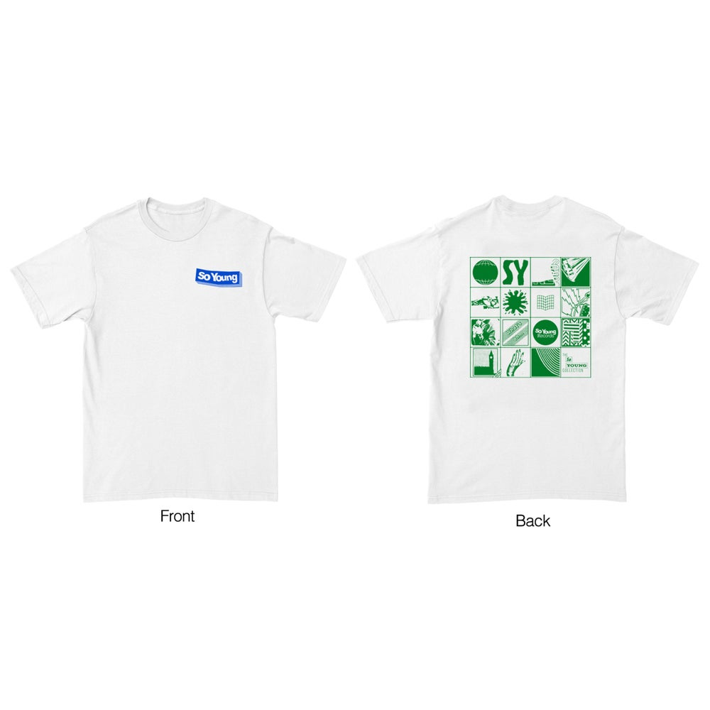 Image of So Young White Grid Tee