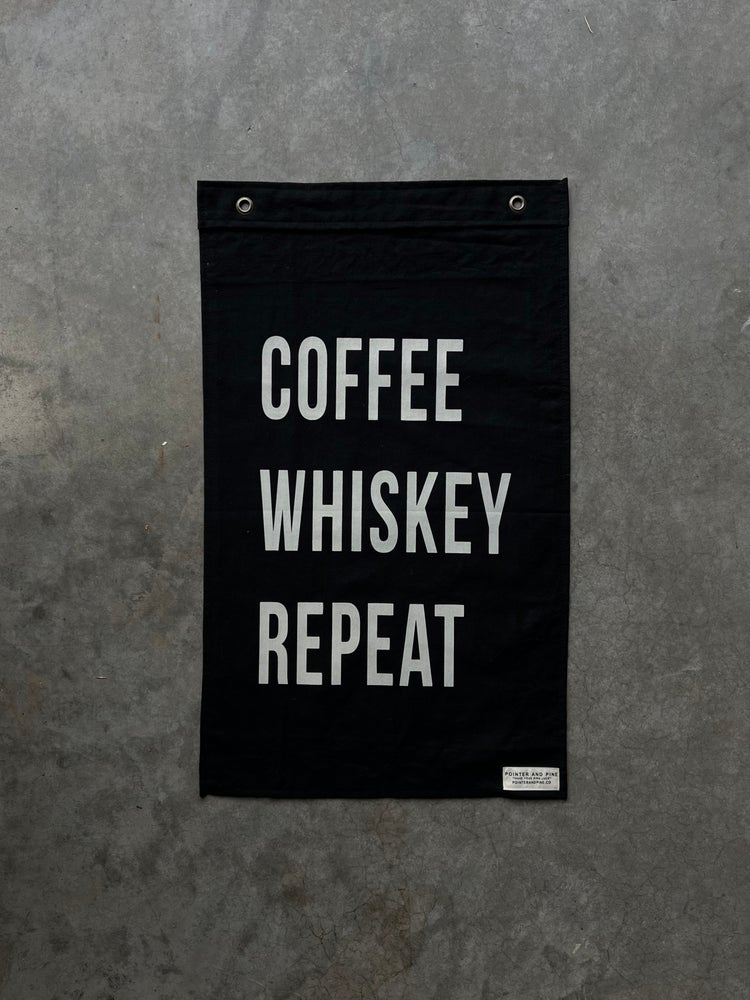 Image of COFFEE WHISKEY REPEAT FLAG  - BLACK